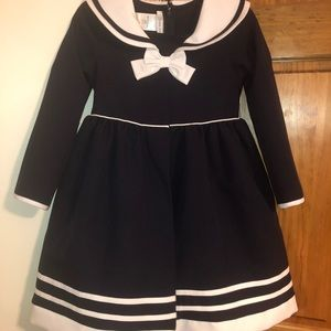 Girls sailor dress (navy & white)